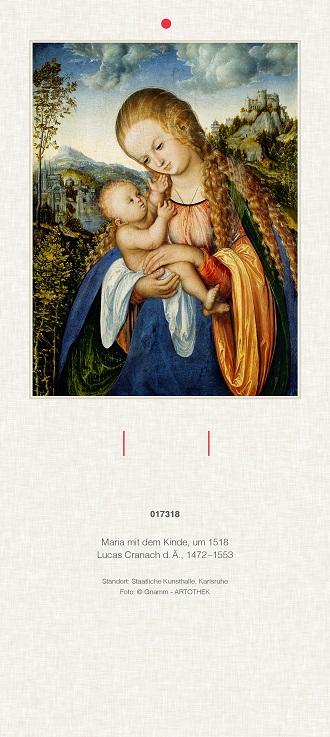 "Liturgischer Kalender Rückwand ""Maria mit dem Kinde"""
